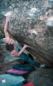 Dave Graham works Mirror Reality (V14), the problem that opened eyes to the roadside potential. Photo by Cameron Maier.
