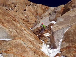 Kennedy climbs M6 terrain at 7,000 meters on summit day. Photo: Kyle Dempster.