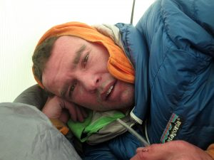 Wharton struggling with altitude sickness on day two. Photo: Hayden Kennedy.