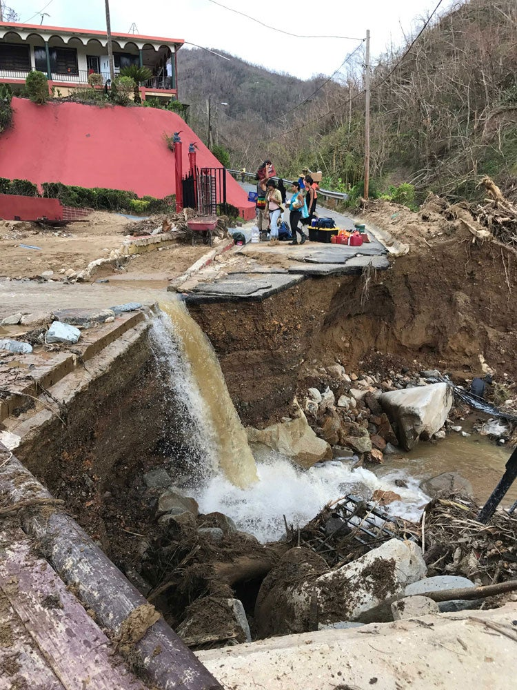The main road leading to Altos de Arena collapsed. Photo: Bryant Huffman / climbingPR.com.