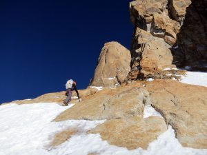 Kennedy leads on the second day. The summit buttress is shown far above. Photo: Kyle Dempster.