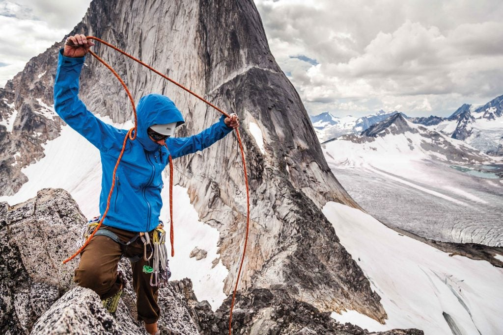 Kaare Iverson on the summit of McTech Arete (5.10-), Bugaboos, British Columbia, Canada. Photo: Dan Holz.
