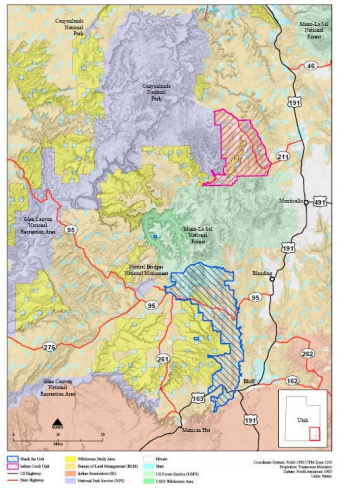 Map showing the new boundaries delineated in the Bears Ears National Monument Modification. The pink-striped area is Indian Creek and Shash Jáa Unit and the blue-striped area is the Indian Creek Unit. Source: The Department of the Interior.
