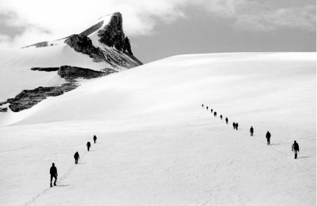 Glacier Crossing, Secret Doubts on St. Nicholas Peak, Rocky Mountains of Canada