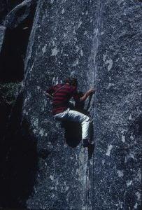 Lanman leading Adrenaline in Yosemite. Photo: Richard Massiah.