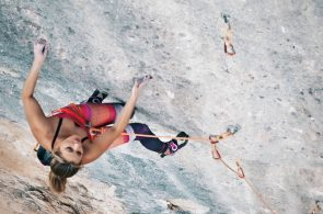 Sasha DiGiulian Climbs Full Equip (5.14b), in Oliana Spain