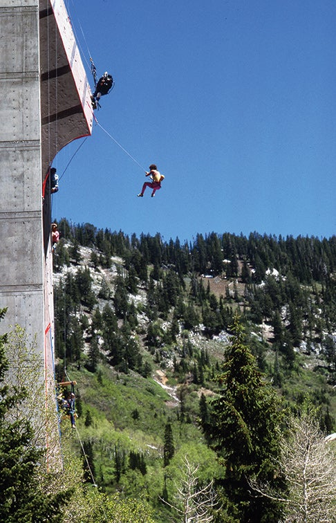 """Spider Dan"" Goodwin, who designed and installed the Snowbird wall (with the exception of the roof), took multiple demo whips off it. Photo: Chris Noble."